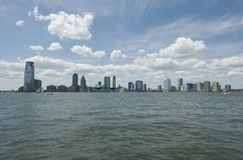 Jersey_city-01. A view of the Jersey City, New Jersey skyline as seen from Battery Park City, Manhattan, New York Stock Photos