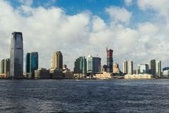 Jersey city downtown view from Manhattan. Jersey city downtown and river view from Manhattan, New York, USA stock image