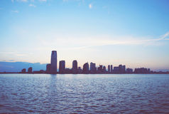 Jersey City horisont från Manhattan Fotografering för Bildbyråer