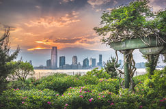 Jersey City, Hudson River, île de Manhattan Image stock