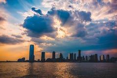 Jersey City, Hudson River Fotografia Stock Libera da Diritti