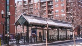 JERSEY CITY NY - Jersey, USA - MARS 22, 2018: Drevstation i vinterdag arkivfoto