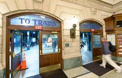 JERSEY CITY - OCTOBER 20, 2015: Interior of Hoboken train station. PATH trains provide 24-hour service on three routes.  stock images