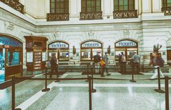 JERSEY CITY - OCTOBER 20, 2015: Interior of Hoboken train station. PATH trains provide 24-hour service on three routes.  royalty free stock images