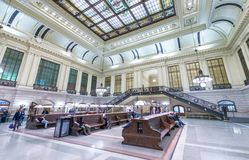 JERSEY CITY - OCTOBER 20, 2015: Interior of Hoboken train station. PATH trains provide 24-hour service on three routes.  royalty free stock image