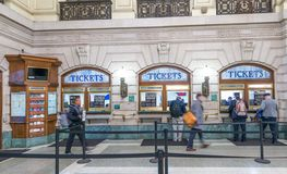 JERSEY CITY - OCTOBER 20, 2015: Interior of Hoboken train station. PATH trains provide 24-hour service on three routes royalty free stock photo