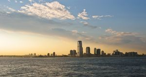 Jersey City Panorama During Sunset Royalty Free Stock Images