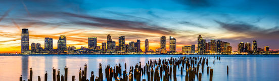 Jersey City panorama at sunset Stock Photography