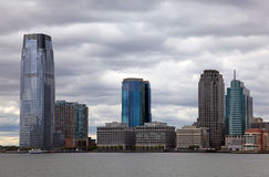 Jersey City skyline. Skyline of the Exchange Place, Jersey City, NJ on the Hudson River shore Stock Image
