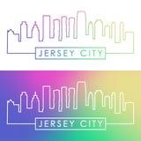 Jersey City skyline. Colorful linear style. Stock Image