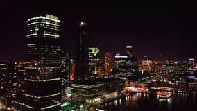 Jersey City skyline by night stock video footage