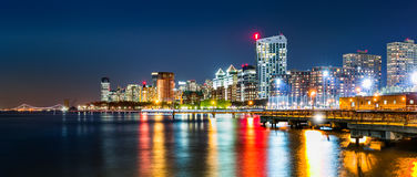 Jersey City skyline panorama by night Stock Images