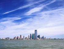 Jersey City on a sunny day. View from the Hudson River Stock Photo