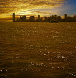 Jersey City on sunset. Royalty Free Stock Photos