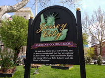 Jersey City, United States Declaration of Independence, NJ, USA. Jersey City, `America`s Golden Door`: The United States Declaration of Independence is quoted on stock photo