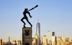 Katyn Memorial, created by Andrzej Pitynski at sunset. Jersey City, USA - June 30, 2018: Katyn Memorial, created by Andrzej Pitynski at sunset. Statue is royalty free stock images