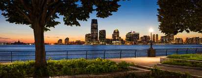 Jersey City Waterfront with Hudson River from Manhattan at Sunse Stock Image