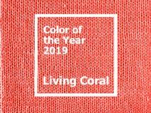 Jersey coralino de vida hecho punto de la textura como fondo foto de archivo