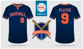 Jersey de béisbol, uniforme del deporte, deporte de la camiseta del raglán, cortocircuito, plantilla del calcetín Mofa de la cami stock de ilustración