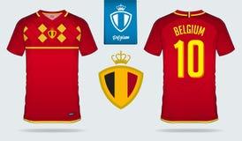 Jersey de fútbol o diseño de la plantilla del equipo del fútbol para el equipo de fútbol del nacional de Bélgica Uniforme delante stock de ilustración