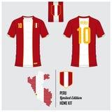 Jersey de fútbol o equipo del fútbol, plantilla para Peru National Football Team Logotipo plano del fútbol en etiqueta de la band Foto de archivo libre de regalías