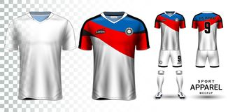 Jersey de fútbol y fútbol Kit Presentation Mockup Template libre illustration