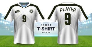 Jersey de fútbol y plantilla de la maqueta de la camiseta de la ropa de deportes, opinión delantera y trasera del diseño gráfico  ilustración del vector