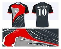 Jersey de fútbol y plantilla de la maqueta del deporte de la camiseta ilustración del vector