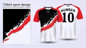 Jersey de fútbol y plantilla de la maqueta del deporte de la camiseta stock de ilustración