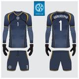 Jersey del portiere o corredo di calcio, jersey lungo della manica, progettazione del modello del guanto del portiere Derisione d royalty illustrazione gratis