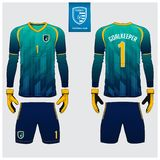 Jersey del portiere o corredo di calcio, jersey lungo della manica, progettazione del modello del guanto del portiere Derisione d illustrazione di stock