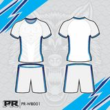 JERSEY DESIGN 003 WHITE AND BLUE. COOL FOOTBALL KIT DESIGN WHITE AND BLUE. MAKE YOUR OWN JERSEY WITH THIS DESIGN Stock Photos
