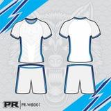 JERSEY DESIGN 003 WHITE AND BLUE. COOL FOOTBALL KIT DESIGN WHITE AND BLUE. MAKE YOUR OWN JERSEY WITH THIS DESIGN stock illustration