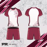 JERSEY DESIGN 003 WHITE AND MAGENTA. COOL FOOTBALL KIT DESIGN WHITE AND MAGENTA. MAKE YOUR OWN JERSEY WITH THIS DESIGN Stock Image