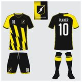 Jersey di calcio o corredo di calcio, short, modello del calzino per il club di sport illustrazione vettoriale