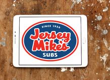 Jersey Mike`s Subs fast food chain logo. Logo of Jersey Mike`s Subs restaurant on samsung tablet. Jersey Mike`s Subs is an American submarine sandwich chain stock image