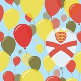 Jersey National Day Flat Seamless Pattern. Flying Celebration Balloons in Colors of Channel Islander Flag. Happy Independence Day Background with Flags and Royalty Free Stock Photo