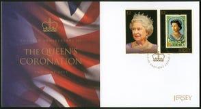 JERSEY - 2013: Shows Königin Elizabeth II, Reihe 60. Jahrestag der Königin ` s Krönung Lizenzfreie Stockbilder