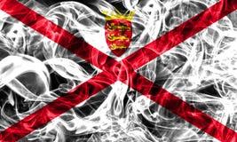 Jersey smoke flag, United Kingdom dependent territory flag.  Royalty Free Stock Images