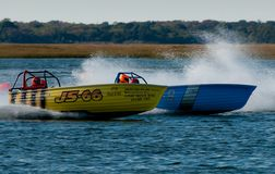 Jersey Speed Skiff. Racing in the back bay at Wildwood Crest HydroFest 2009 - New Jersey Governor's Cup Boat race Royalty Free Stock Image