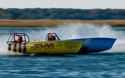 Jersey Speed Skiff. Racing in the back bay at Wildwood Crest HydroFest 2009 - New Jersey Governor's Cup Boat race Royalty Free Stock Photography