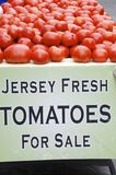 Jersey Tomatoes. Fresh New Jersey tomatoes for sale in the outdoor farm market. New Jersey is famous for its tomatoes that were historically used to make famous royalty free stock images