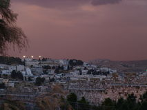 Jerusaelm in late afternoon. Afternoon at Jerusalem Old city, sky is reddish Stock Photos
