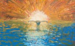 Jerusalém - Crucified Jesus como a luz da pintura moderna do mundo - igreja de anglicanos de St George Fotografia de Stock