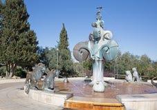 Jerusalém - a fonte dos leões situada em um parque no Yemin Moshe pelo escultor alemão Gernot Rumpf Fotografia de Stock Royalty Free
