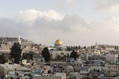 JERUSALÉM, ISRAEL - 17 DE DEZEMBRO DE 2016: Vista da abóbada da rocha Fotografia de Stock Royalty Free