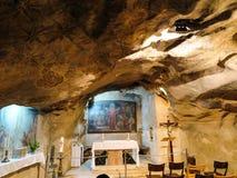 JERUSALÉM, ISRAEL - 13 DE JULHO DE 2015: Vista interior da gruta de Gethsemane Fotografia de Stock Royalty Free