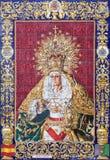 Jerusalém - Madonna telhado, gritado cerâmico de Malaga na fachada da casa perto da igreja da flagelação Fotografia de Stock Royalty Free