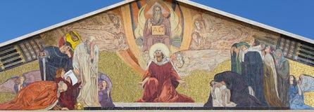 Jerusalém - mosaico no portal da igreja de todas as nações (basílica da agonia) pelo professor Giulio Bargellini (1922 - 1924) Imagem de Stock Royalty Free