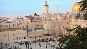 Jerusalém, parede ocidental e abóbada da rocha, bandeira de Israel, plano geral, timelapse filme